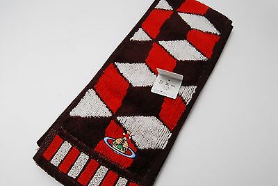 Vivienne Westwood Red Brown Long Cotton Towel Muffle Orb Japan #238