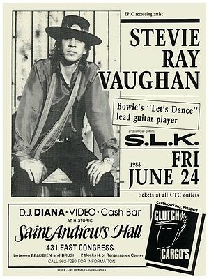 Stevie Ray Vaughn POSTER  - VERY LARGE Live Blues Guitar Master DETROIT