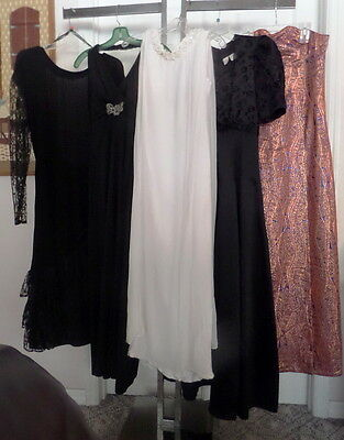 Vintage 60s-80s Assorted Lot of 5 Formal Gowns~Brocade Lace Chiffon~VGC