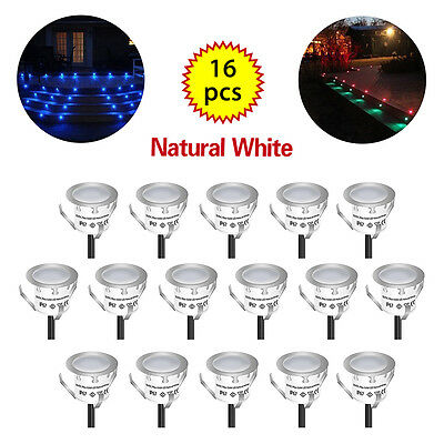 16pcs Recessed LED Deck Lighting Kits Outdoor Pool Deck Light Cool White Durable
