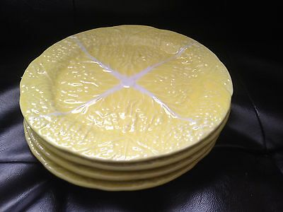 Set of 4 Yellow Majolica Cabbage Leaf Plates   Secla Portugal Yellow Plates