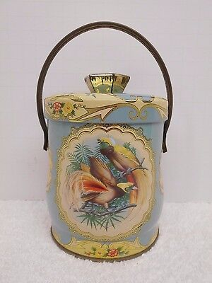 """Vintage Blue Biscuit Candy Tin Handle Lid Tropical Birds England 6.5"""" tall"""
