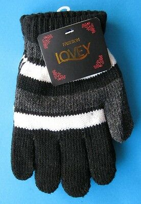 One Pair KIDS Thick Winter Knitted Gloves NWT Black White  Grey Stripe FREE POST