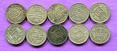 1937-46 Great Britain Silver Sixpence - 10 Different - Circulated #1
