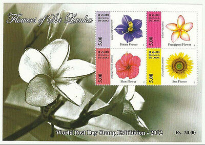 Sri Lanka 2012 Mnh Ms World Post Day Stamp Exhibition Flowers Flower Sunflower