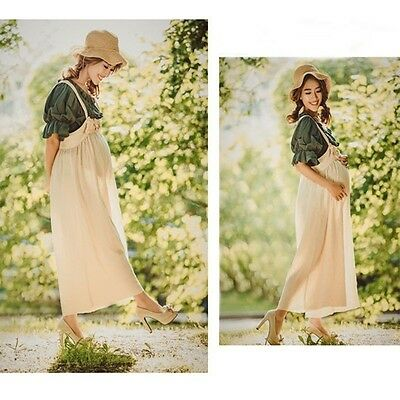 Maternity Pregnant Women Photography T-shirt Wide Leg Pants Hat Cotton Linen New