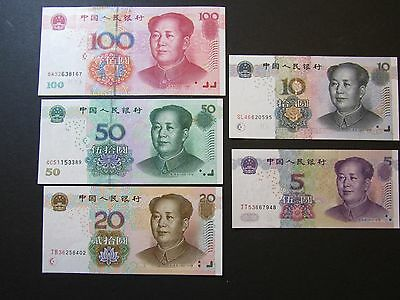 Chinese Banknote 2005 Set of 5 as $5 $10 $20 $50 & $100 Yuan (2005年一套五款人民币(New)