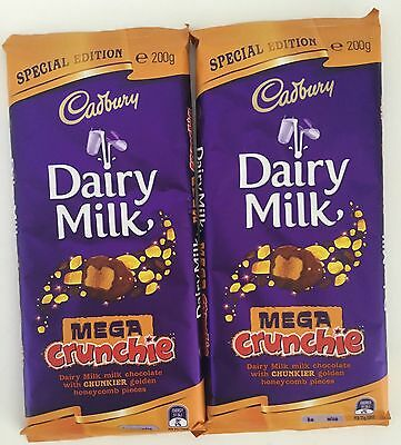 Cadbury MEGA CRUNCHIE Dairy Milk Chocolate Block 200g X 2 Special Limited