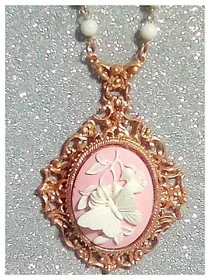 Vintage Florenza Butterfly Large Cameo Pendant Necklace White Milk Glass Beads