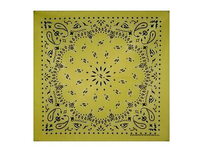 Yellow Paisley Bandana - 550mm x 550mm - Brand New