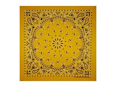 Gold Paisley Bandana - 550mm x 550mm - Brand New