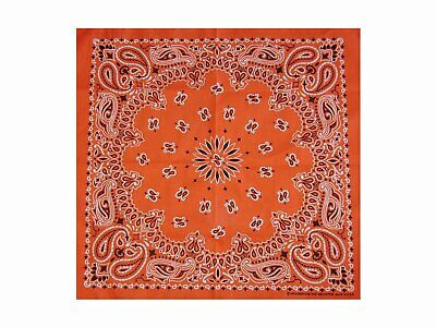 Bright Orange Paisley Bandana - 550mm x 550mm - Brand New