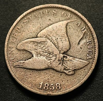 1858 FLYING EAGLE CENT - VG VERY GOOD - Small Letters SL
