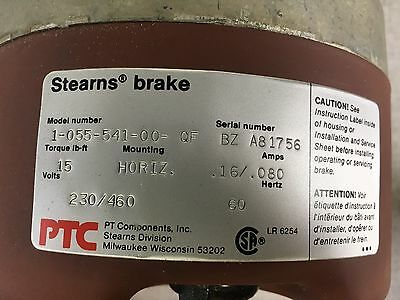 STEARNS BRAKE #1-055-541-00-QF 230/460V 60Hz TORQUE: 15 Lb-ft.
