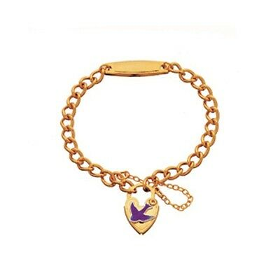 Childrens Id Bracelet With Bluebird Of Happiness Padlock & Safety Chain