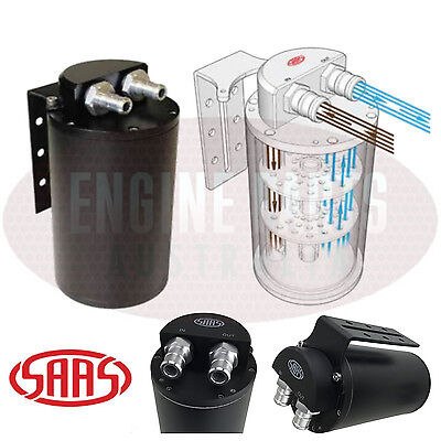 SAAS 500cc Baffled Oil Catch Tank Can Black With 10mm & 14mm Fittings + Bracket
