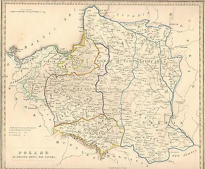 1848 Ca ANTIQUE  MAP-H/COL- POLAND AS DIVIDED AMONG THE POWERS