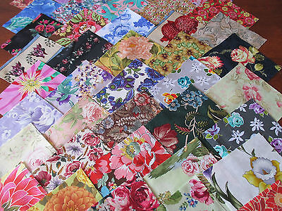 40 x 5' CHARM SQUARES LARGE BLOOMS Flowers 100% Cotton Fabric Sewing Material