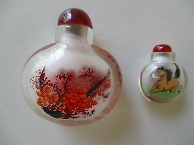 Two Hand painted Small Glass Chinese Snuff Perfume  Miniature Bottles