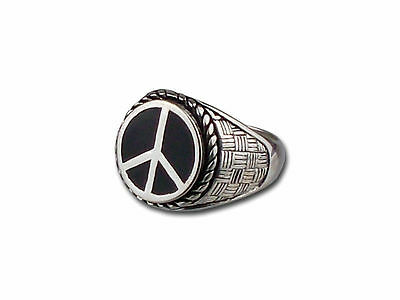 Peace Rhodium Plated Men's Ring Brand New