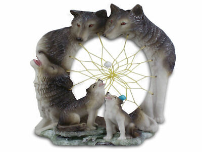 Native American Wolves Dreamcatcher Resin Plaque - Brand New