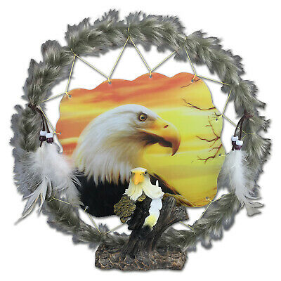 Eagle Head Dreamcatcher Plaque with Holographic Artwork - Brand New