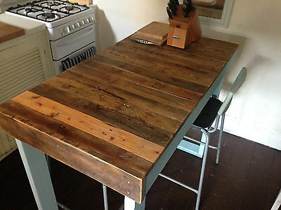 Recycled Timber Breakfast Bar Kitchen Island Baby Blue Natural Timber