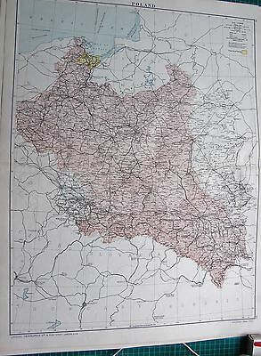 1919 Large Antique Map- Poland