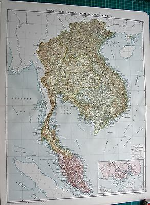 1919 Large Antique Map-French Indo China, Siam And Malay States, Inset Singapore