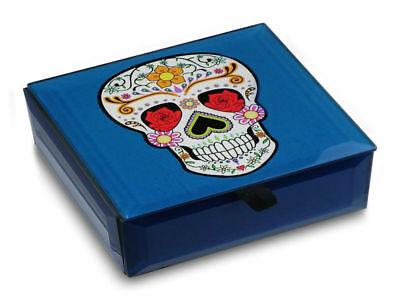 Day Of The Dead Candy Skull Blue Glass Trinket Box - Brand New