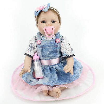 "22"" Lifelike Soft Vinyl Reborn Doll Newborn Baby Child Playmate Bambole"