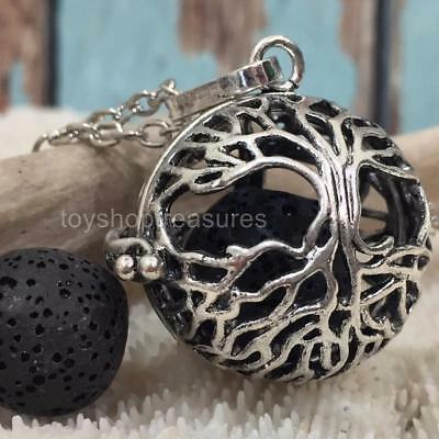 Tree Of Life Aromatherapy diffuser Necklace Essential Oil Locket Black Lava Rock