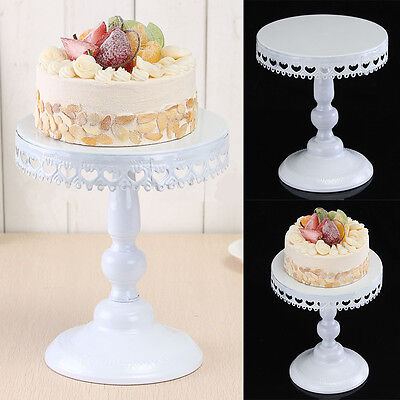"8"" Round Cake Stand Pedestal White Moroccan Dessert Holder Wedding Party Decor"