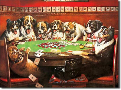 Dogs Playing Poker Metal Sign (40cm x 30cm) Brand New