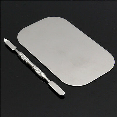 Stainless Steel Mixing Color Palette Nail Art Dish Spatula Makeup Cosmetic Bl...
