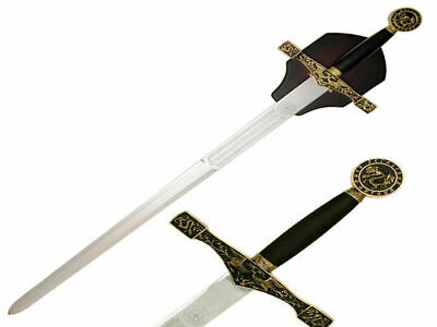 Gold Excalibur Sword (114cm) with Wood Wall Plaque Brand New