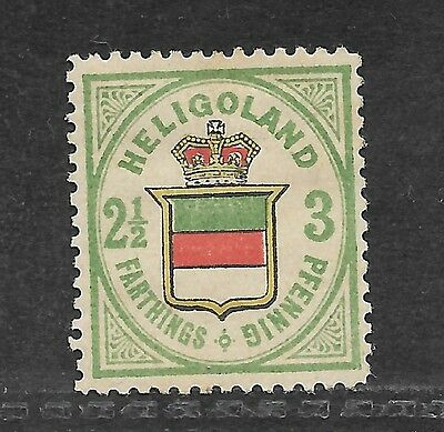 1875 Heligoland Embossed Head Stamp (2 1/2D) 20 Pfennig Unused Rose/green/yellow