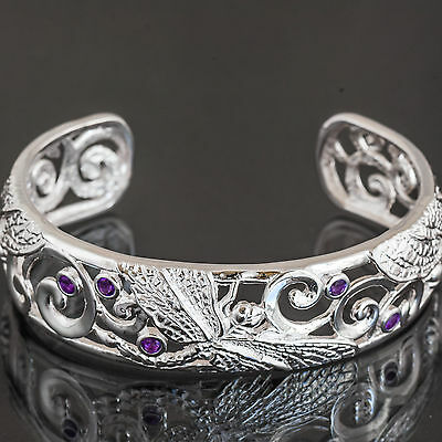 Sterling Silver Bangle. Bracelet Open Cuff Dragonfly Motif Set With 6 Amethyst