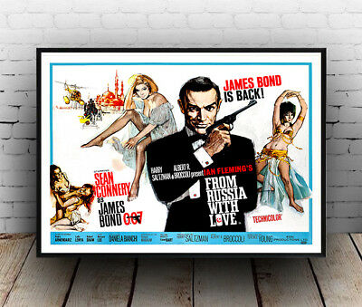James Bond is back :  Vintage  007 Movie advertising ,  Poster reproduction.