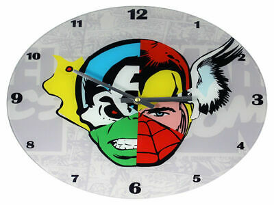 6 Marvel Faces Glass Clock Brand New