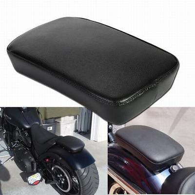 Black Leather Pillion Rectangle Pad Rear Seat 6 Suction Cup For Harley Custom