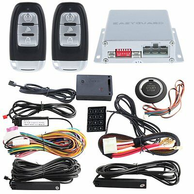 New DC12V PKE Car Alarm System Shock sensor Push Button Start Remote Starter