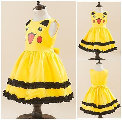 Pikachu Cosplay Pokemon GO Girls' Clothing Dress Toddlers Princess Party Gown