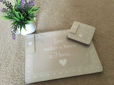 4 PIECE SHABBY cute CHIC  Table PLACE MATS &coasters KITCHEN Brown Cream