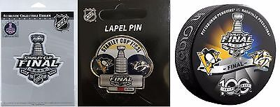 2017 Stanley Cup Final Jersey Patch + Dueling Team Pin Puck Three (3) Pc. Set