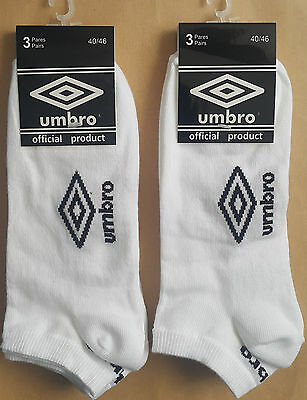 Pack 6 pares calcetines deportivos invisibles Umbro. Blanco. Talla 40-46
