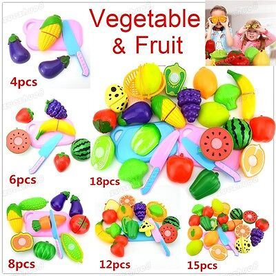 18Pcs Kids Child Pretend Role Play Kitchen Fruit Vegetable Food Toy Cutting Set