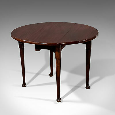 Antique English Georgian Drop Leaf Dining or Centre Table Fine Mahogany c1780