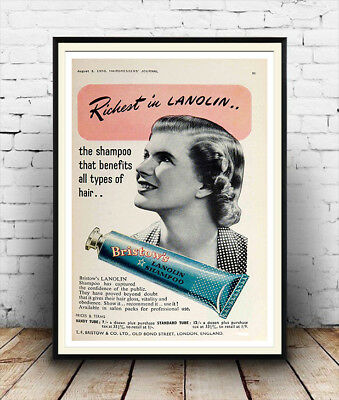 Lustron Vintage hair product poster reproduction