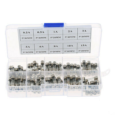 100x Sets 5x20mm Quick Blow Glass Tube Fuse Assorted Kits Fast-blow Glass Fuses